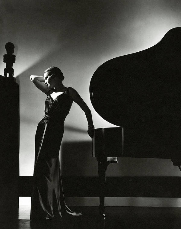 Fashion Art Print featuring the photograph Margaret Horan Posing Beside A Piano by Edward Steichen