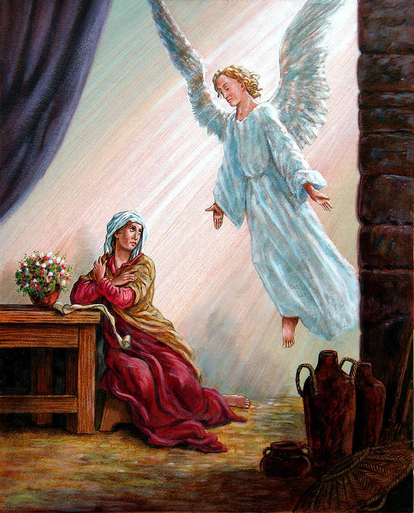 Angel Art Print featuring the painting Mary and Angel by John Lautermilch