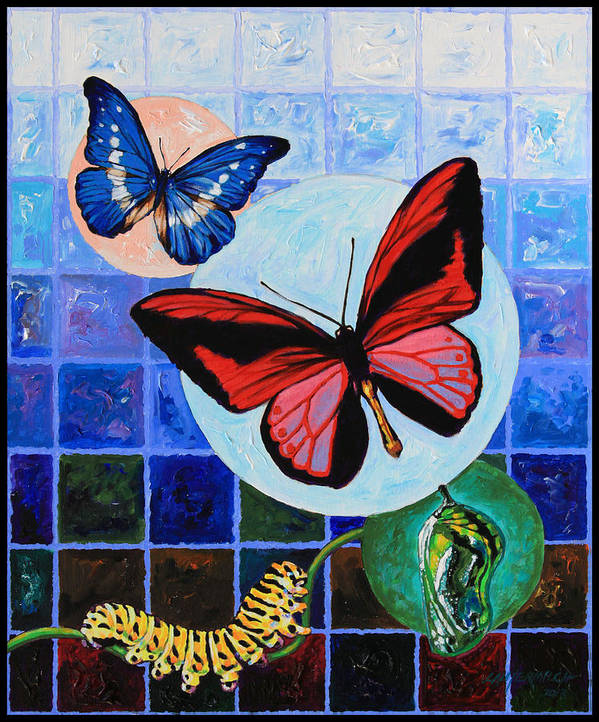 Butterflies Art Print featuring the painting Metamorphosis of the New Life by John Lautermilch
