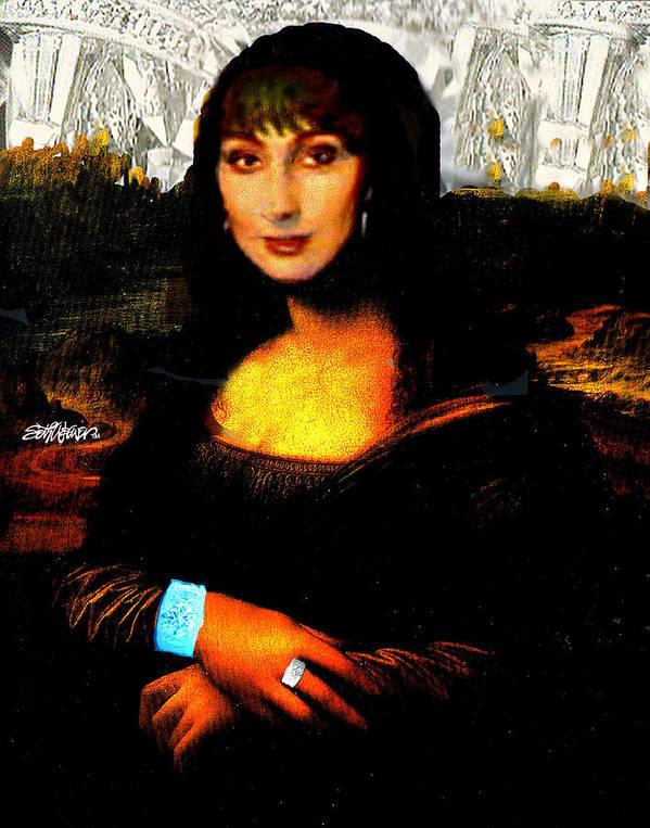Mona Cher Art Print featuring the digital art Mona Cher by Seth Weaver