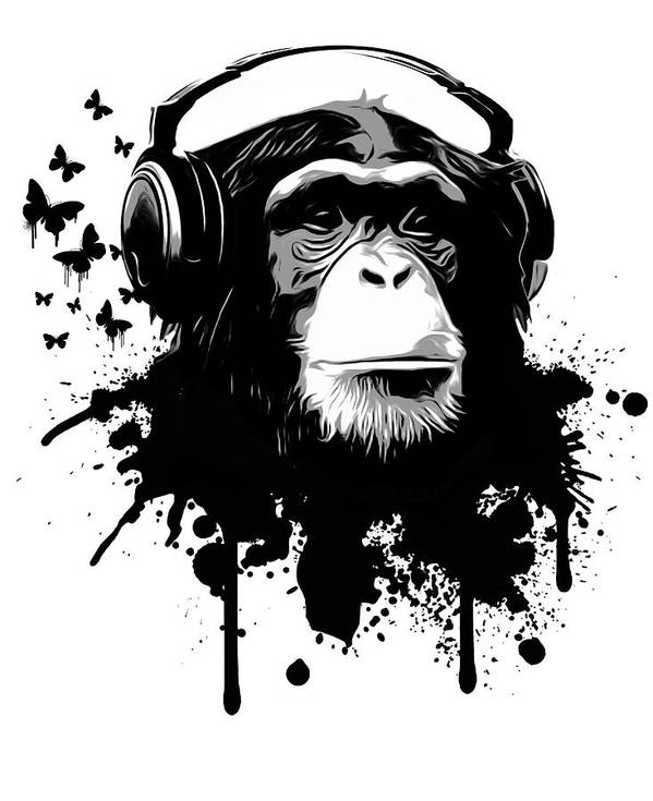 Ape Art Print featuring the digital art Monkey Business by Nicklas Gustafsson