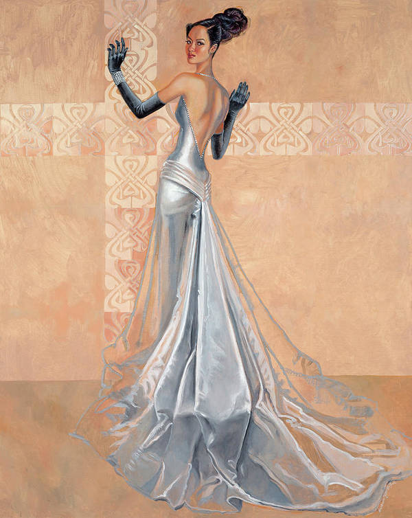 Fashion Illustration Art Print featuring the painting Moonlight Daiquiri by Barbara Tyler Ahlfield