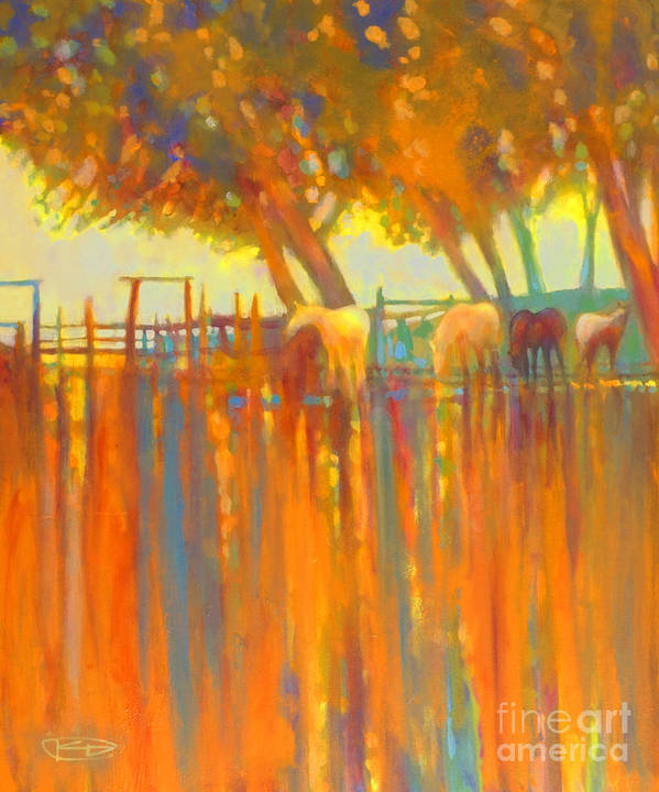Horse Painting Art Print featuring the painting Morning Shadows by Kip Decker