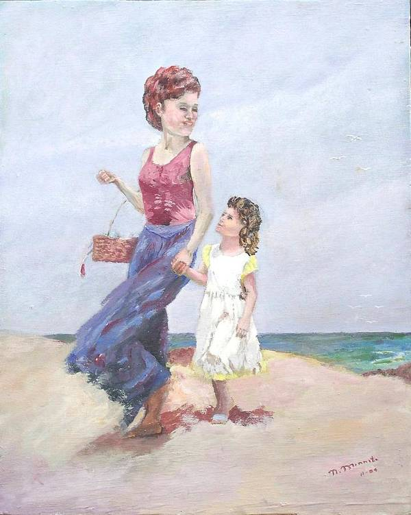 Mother Art Print featuring the painting Mother and Daughter at the Beach by Nicholas Minniti