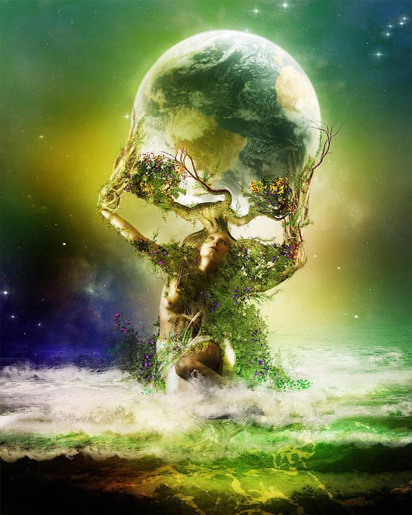 Science Art Print featuring the digital art Mother Earth by Karen Koski