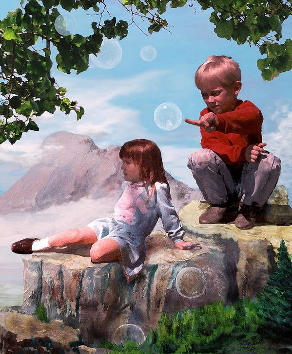 Landscape Art Print featuring the painting Mount Innocence by Steve Karol