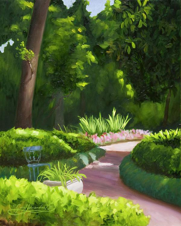 Garden Art Print featuring the painting Mrs. Turner's Garden at Rienzi Gardens by Gary Hernandez