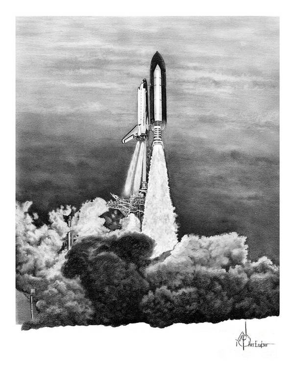 Pencil Art Print featuring the drawing NASA Space Shuttle by Murphy Elliott