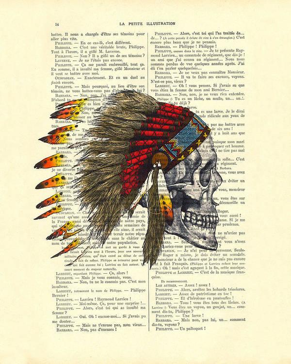 Native American Art Print featuring the digital art Native American Skull by Madame Memento
