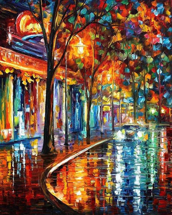 Afremov Art Print featuring the painting Night Cafe by Leonid Afremov