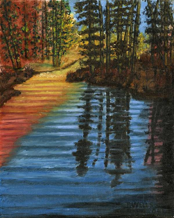 Peaceful Brook Stream Vibrant Color Reflective Art Print featuring the painting Peaceful Brook by Tanna Lee M Wells