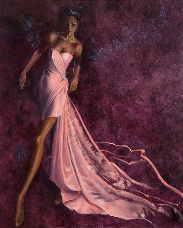 Fashion Illustration Art Print featuring the painting Pink Prowl by Barbara Tyler Ahlfield