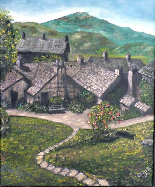 Pastoral Cottages Art Print featuring the painting Poet by Dan Bozich