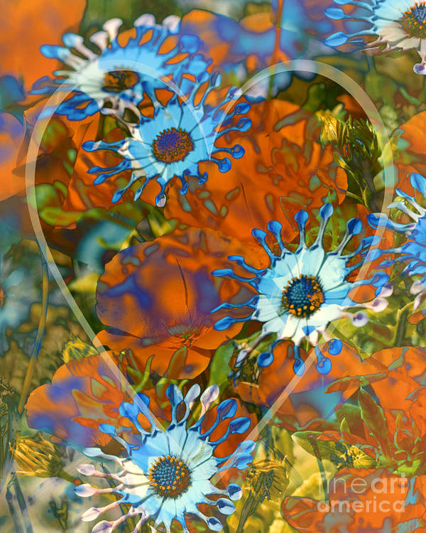 Floral Art Print featuring the digital art Poppy Love by Chuck Brittenham