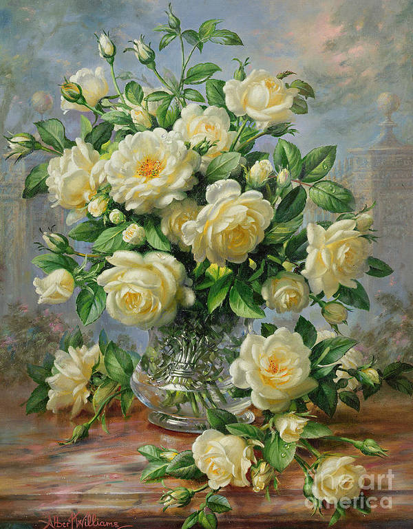 In Honour Of Lady Diana Spencer (1961-97); Still Life; Flower; Rose; Arrangement; Princess Of Wales (1981-96); Homage; Yellow; Flowers; Leafs Art Print featuring the painting Princess Diana Roses in a Cut Glass Vase by Albert Williams