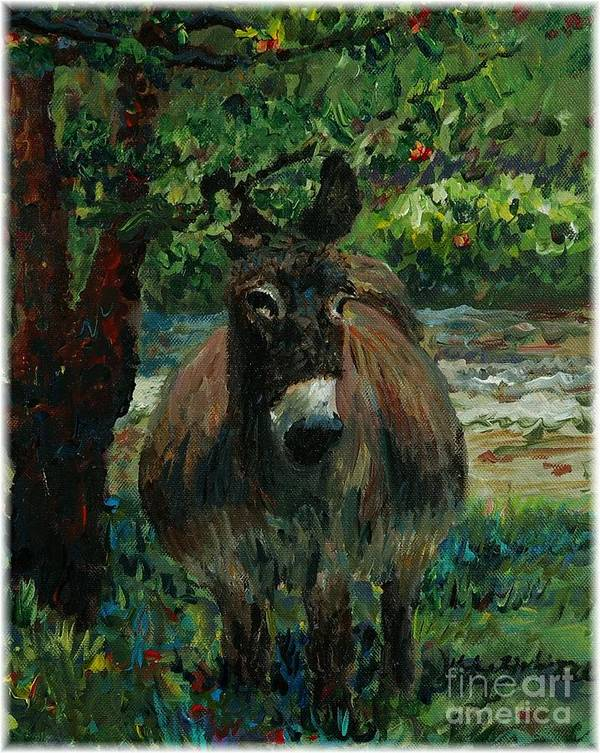 Donkey Art Print featuring the painting Provence Donkey by Nadine Rippelmeyer