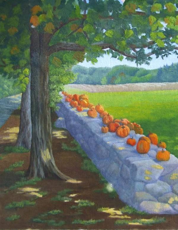 Pumpkins Art Print featuring the painting Pumpkin Muster by Sharon E Allen
