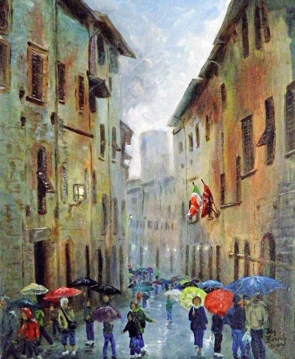 Rain Art Print featuring the painting Rain in San Gimignano by Dan Bozich