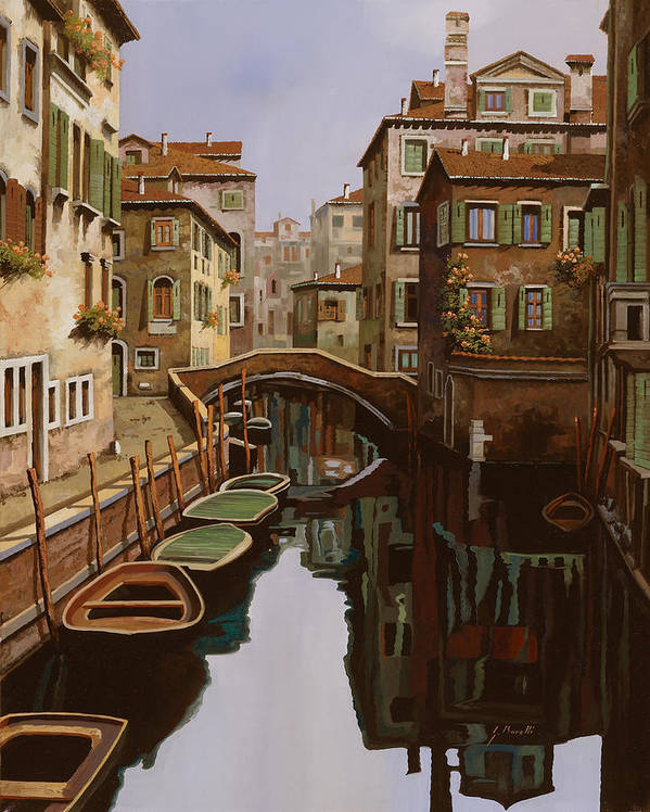 Venice Art Print featuring the painting Riflesso Scuro by Guido Borelli