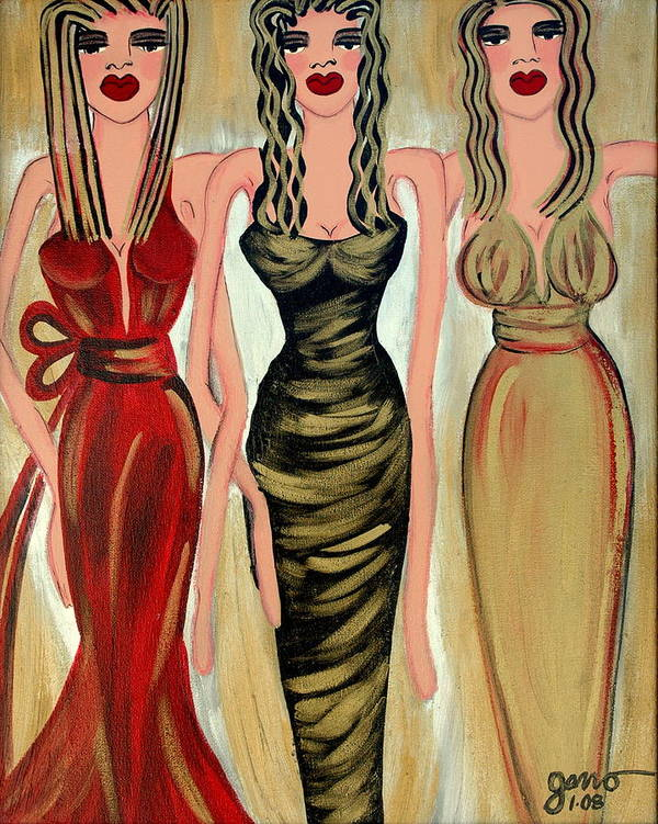 Figures Art Print featuring the painting Rodeo Drive by Helen Gerro
