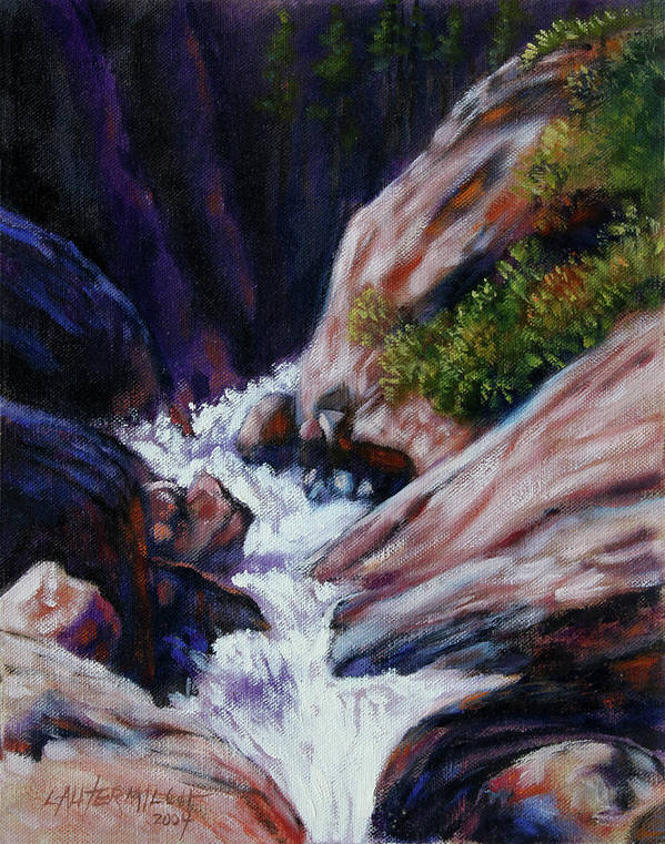 Mountain Stream Art Print featuring the painting Rushing Waters two by John Lautermilch