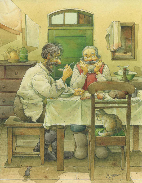 Russian Winter Dinner Meal Kitchen Food Cold Christmas Cat Art Print featuring the drawing Russian Scene 08 by Kestutis Kasparavicius