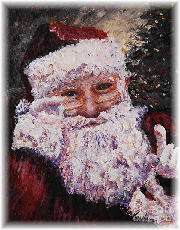 Santa Art Print featuring the painting Santa Chat by Nadine Rippelmeyer