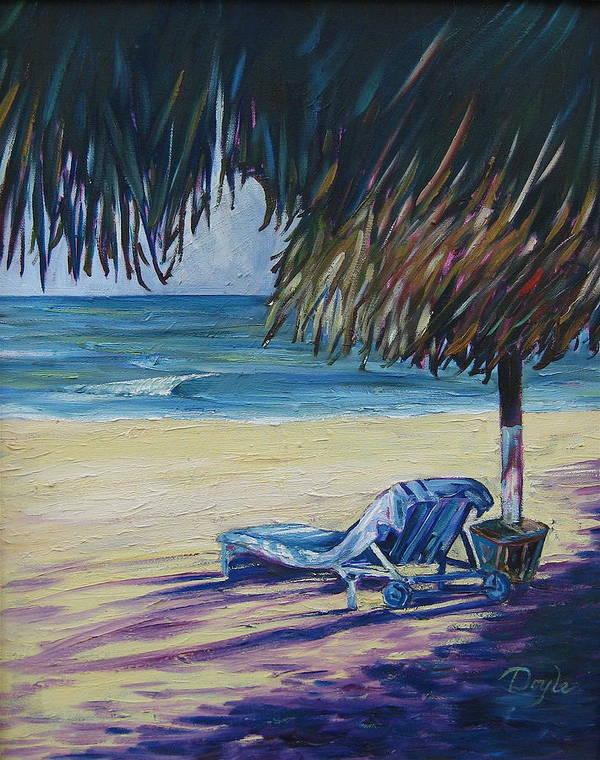 Beach Art Print featuring the painting Shady Beach by Karen Doyle
