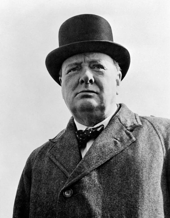 Wwii Art Print featuring the photograph Sir Winston Churchill by War Is Hell Store