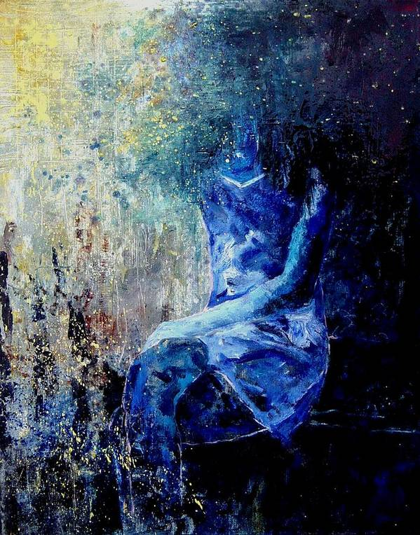Woman Girl Fashion Art Print featuring the painting Sitting Young Girl by Pol Ledent