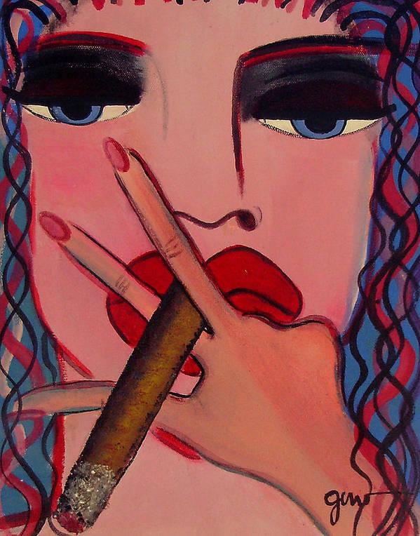 Cigar Magazine Art Print featuring the painting Smokey Eyes by Helen Gerro