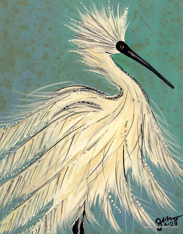 Egret Art Print featuring the painting Snowey Egret tropical by Helen Gerro