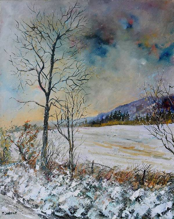 Landscape Art Print featuring the painting Snowy landscape by Pol Ledent