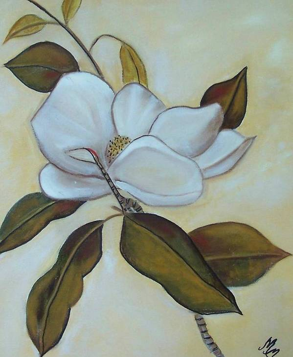 Flowers Art Print featuring the painting Southern Magnolia by Martha Mullins