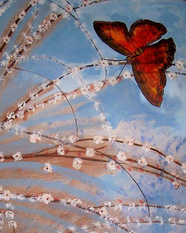 Butterfly Art Print featuring the painting Spring Butterfly by Martha Mullins