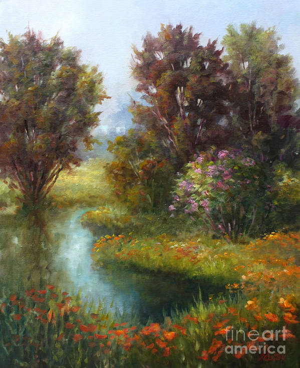 Ponds Art Print featuring the painting Springers Pond by Gail Salitui