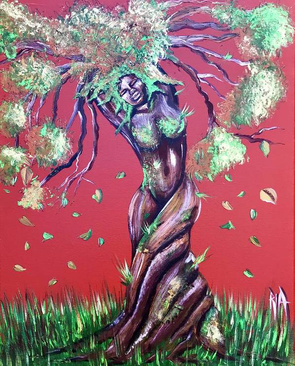 Tree Art Print featuring the painting Stay Rooted- Stay Grounded by Artist RiA
