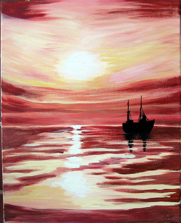 Seascape Art Print featuring the painting Still waters run deep by Marco Morales
