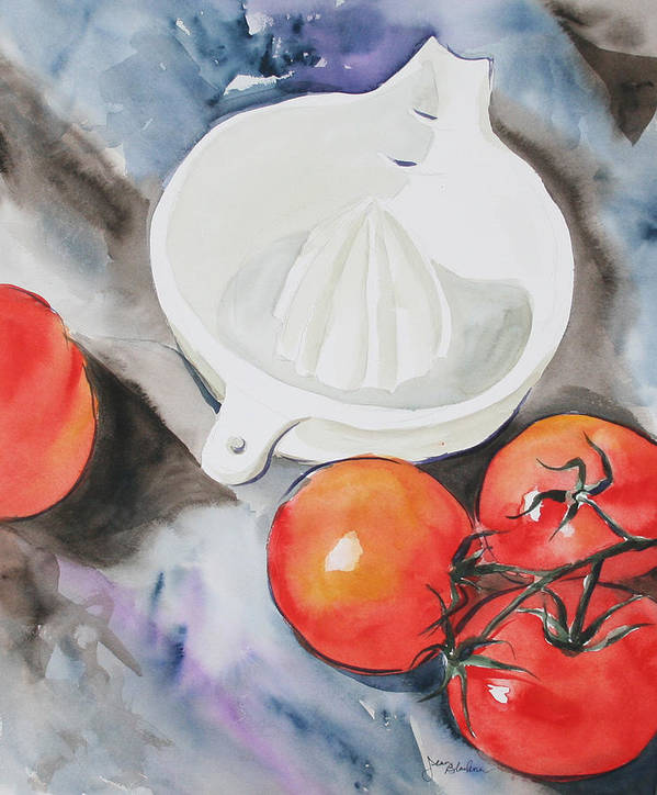 Tomatoes Art Print featuring the painting Sunshine On The Vine by Jean Blackmer