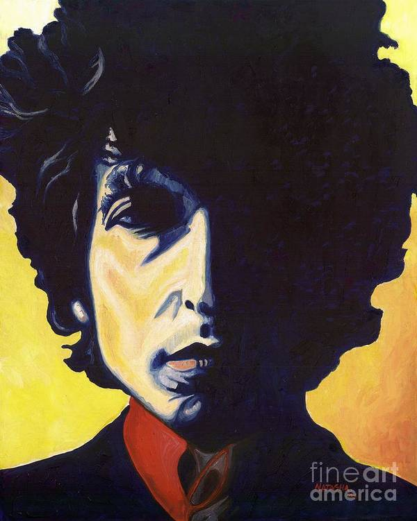 Bob Dylan Art Print featuring the painting Tangled Up in Blue by Natasha Laurence