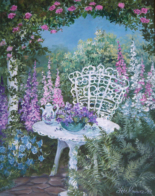 Garden;flowers;teapot;ornamental;roses; Art Print featuring the painting Tea Time in the Garden by Lois Mountz