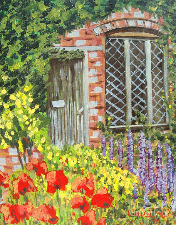 Windows Art Print featuring the painting The Artist's Cottage by Laurie Morgan