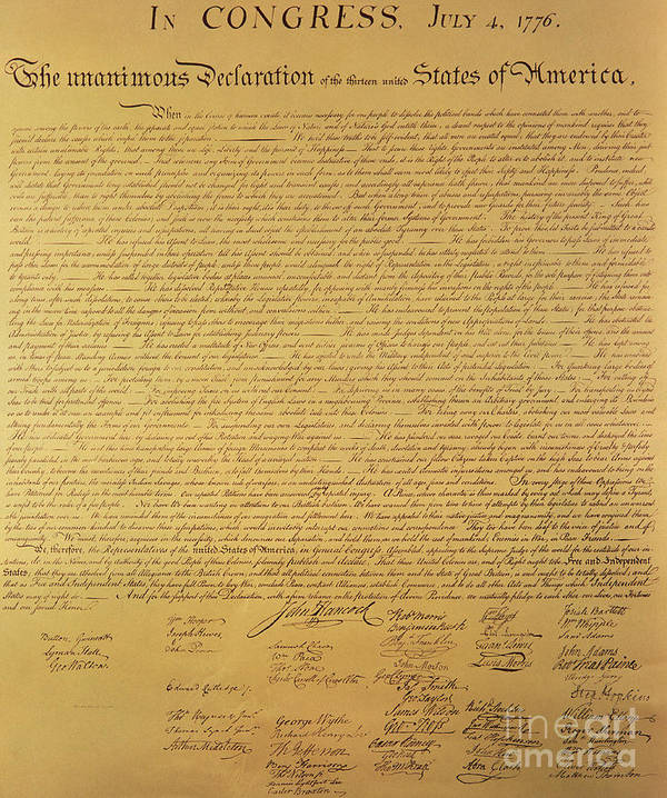 Declaration Of Independence Of The 13 United States Of America Of 1776 Art Print featuring the painting The Declaration of Independence by Founding Fathers
