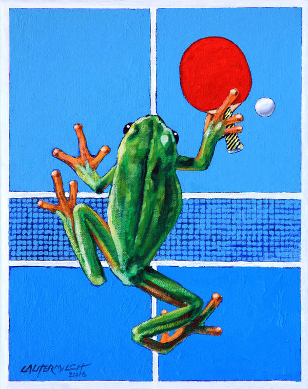 Ping Pong Art Print featuring the painting The Forehand Smash by John Lautermilch