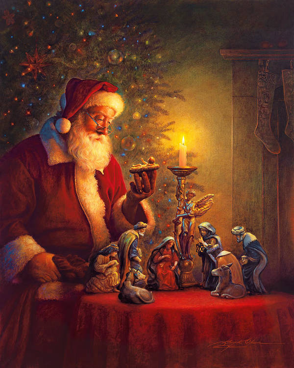 Santa Claus Art Print featuring the painting The Spirit of Christmas by Greg Olsen