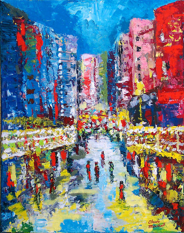 Abstract Art Print featuring the painting Theatre Street by Claude Marshall