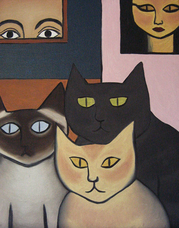 Cats Art Print featuring the painting Three Cool Cats by Lana Cheng
