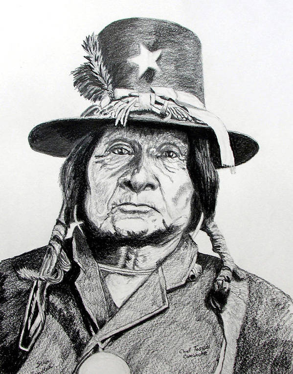 Indian Art Print featuring the drawing Tosawi Comanche Chief by Stan Hamilton
