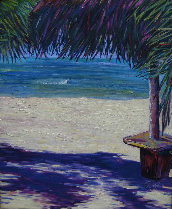 Ocean Art Print featuring the painting Tropical Beach Shadows by Karen Doyle