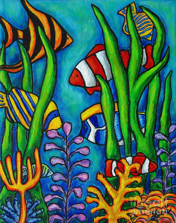 Tropical Art Print featuring the painting Tropical Gems by Lisa Lorenz